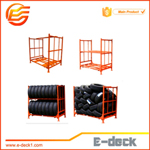 steel powder coating folding and stacking tire rack for warehouse