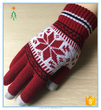 2017wholesale jacquard knitted womens gloves for touch screen