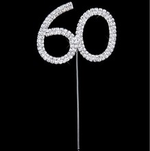 Lovely Diamante Dual Numeral 60 Monogram Cake Toppers for Wedding Birthday