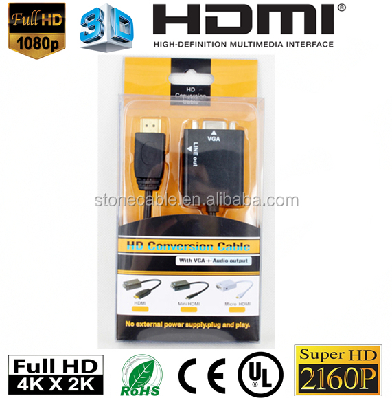 HDMI v1.3 Male to VGA Female Converter Adapter w/ 3.5mm Audio Jack - Black