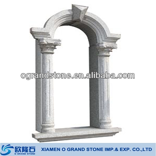white stone carved exterior marble door surround