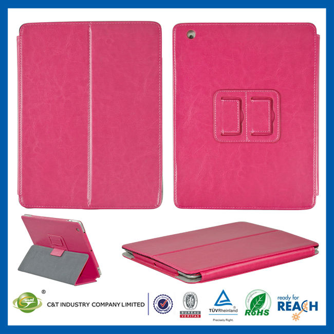 C&T Pink leather wallet case for ipad guangzhou