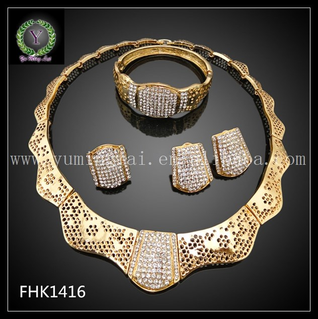 Fashion Style Italian Good Quality Gold Plated Jewelry Set FHK1416