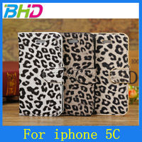 For iphone 5c leopard print leather case