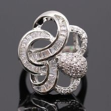 unique ring jewelry platinum plated white zircon ring gift