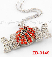ZD-3149 Hot selling Mother's Day jewelry with basketball charm silver necklace