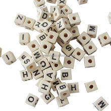 DIY Natural Wood Alphabet Letters Wooden Beads Charms for Children Jewelry Making