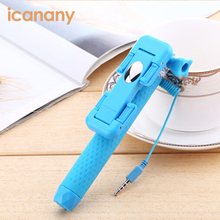 Icanany wholesale Selfie stick customize acceptable Telescopic Handheld Holder 3.5mm mini wired cable monopod selfie stick
