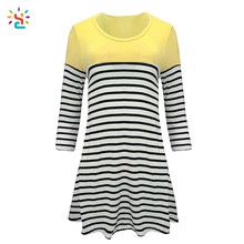 Custom scoop neck tee long sleeve black white striped t-shirts 95% cotton 5% spandex slim fit t shirt top