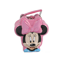 Tin Minnie mouse head shape money box coin bank with lock&key and handle for kids