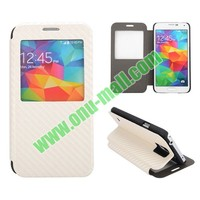 Straw Mat Texture Caller ID Display Window Side Flip Stand Leather Case for Samsung Galaxy S5 I9600 G900