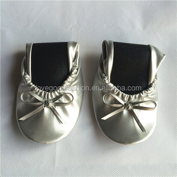 <strong>Shoes</strong> Factory Wholesale Silver Roll Up Bridal Foldable Ballet Flat <strong>Shoes</strong>