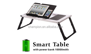 Built-in 10000 Battery Smart table High quality Material Desk with LED Light Folded Laptop Table