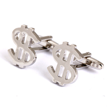 Silver Plating USA Dollar Business Cufflinks for Mens