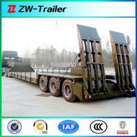 3 lines 6 axles tyre exposed low gravity center lowbed truck semi trailer for large&non- dismantle objects with hydraulic ladder