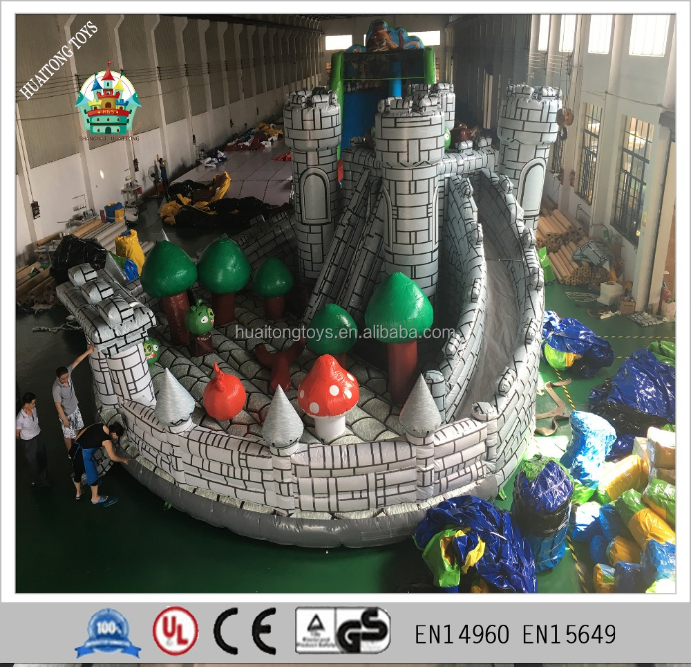 hot sale giant inflatable theme castle air bouncer slide game green big and red bird fun city customized