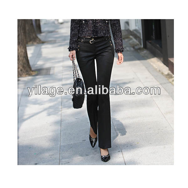 Women's Slim Zip Fly Suit Boot Cut Long Pants Formal Trousers L1264