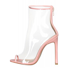 New Fashion Women Peep Toe Transparent High Heel Ankle Summer Sandal Boots
