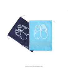 Waterproof Non woven Drawstring Bags Travelling Cloth Shoe Pouch with Transparent Window