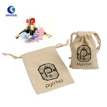 Eco Friendly Promotional Custom Logo Printed Small Cheap Cotton Calico Canvas Muslin Cloth Fabric Tolietry Dust Drawstring Bag
