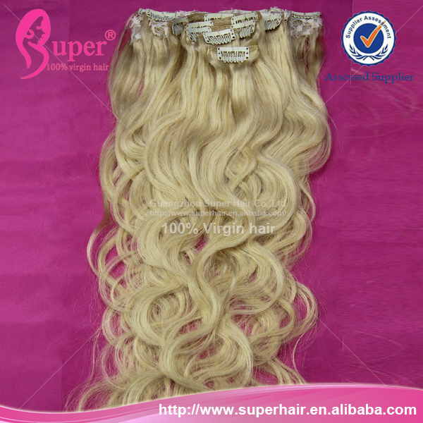 100% Brazilian Weaving Nature Hair, Brazilian Curly Blonde Hair, Brazilian Remy Clip Hair Extensions