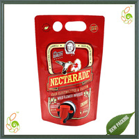 Custom Design Printing Liquid Drink Stand Up Pouch Wine Bag with Spout Tap Plasitc Foil Filling Packaging Manufacture