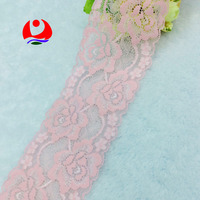 Fashionable Pink Flower Design Nylon Lace Trimming for Dresses Decoration