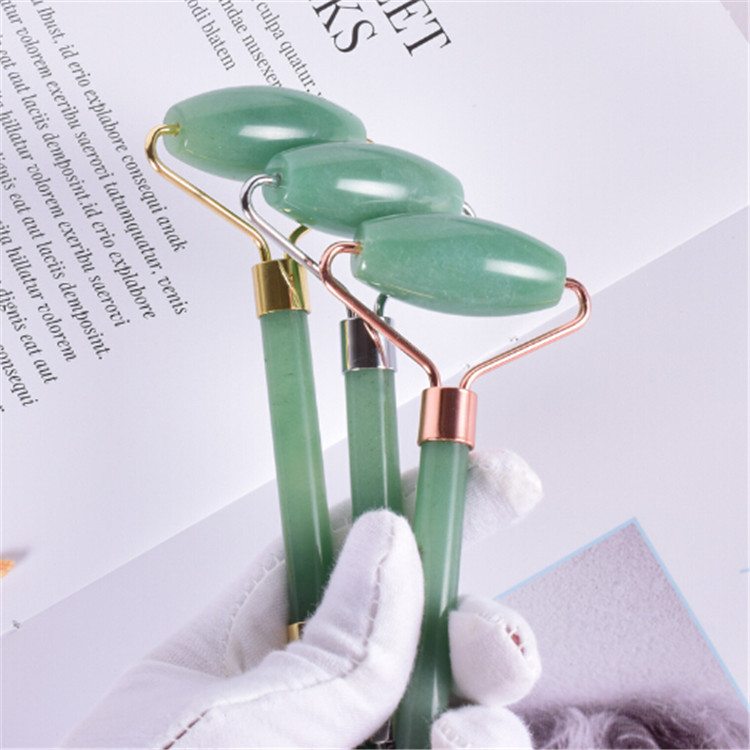 2019 Hot sale High quality facial massager rose quartz tool set jade roller with box packing