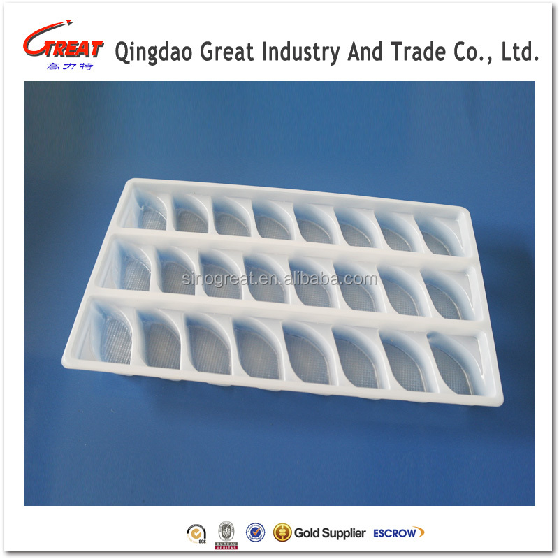 Compartments disposable food grade PP blister plastic frozen dumpling tray
