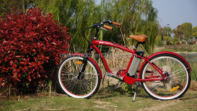 low price aluminum frame chopper electric beach cruiser bicycle 250W 36V 26'