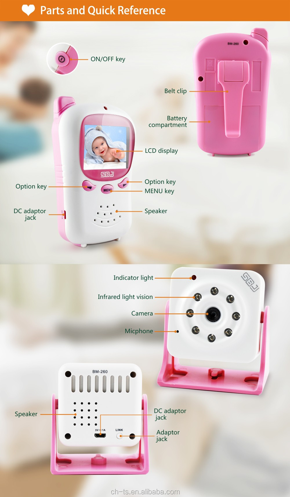 professional wireless indoor home camera baby monitor vox auto video monitor infrared baby