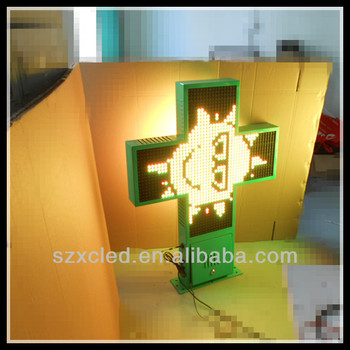 RGB full color RF wireless communication P16-80x80cm two sides 3D led pharmacy cross display