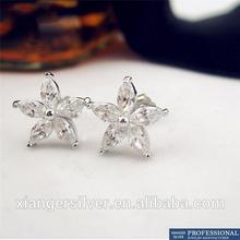 Wholesale 925 Sterling Silver Stud Earring with Cubic Zirconia Rhodium Plated Jewelry