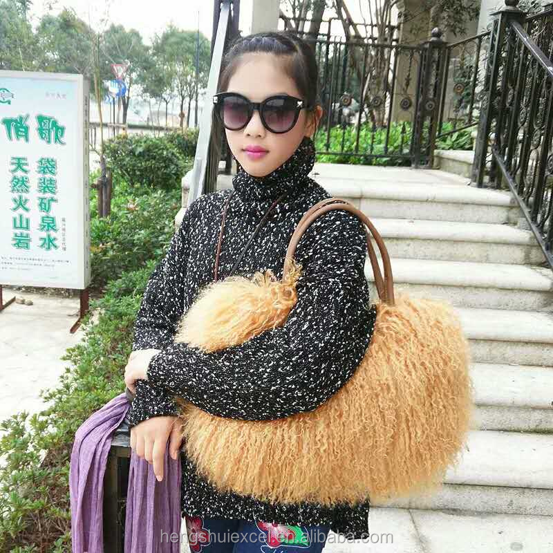 women handbag mongolia sheep lamb fur hand bag real fur tote bag