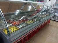 European Style Hot Deli Showcase With Sliding Doors/Front Flip Doors Used Food Warmer for Supermarket/Restaurant