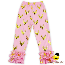 Autumn Gold Deers Printed Soft Cotton Baby Clothes Kids Fashion Pants Design Wholesale Kids Ruffle Pants