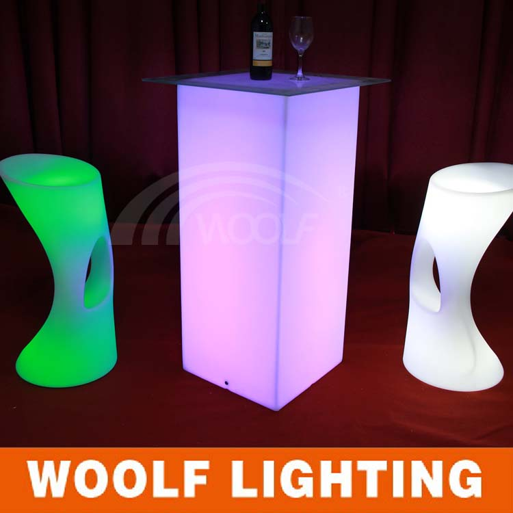 glow table for event LED lighting furniture LED high bar stool