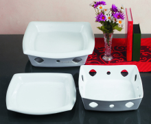 Wholesale oven safe cake white square hollow porcelain baking dishes