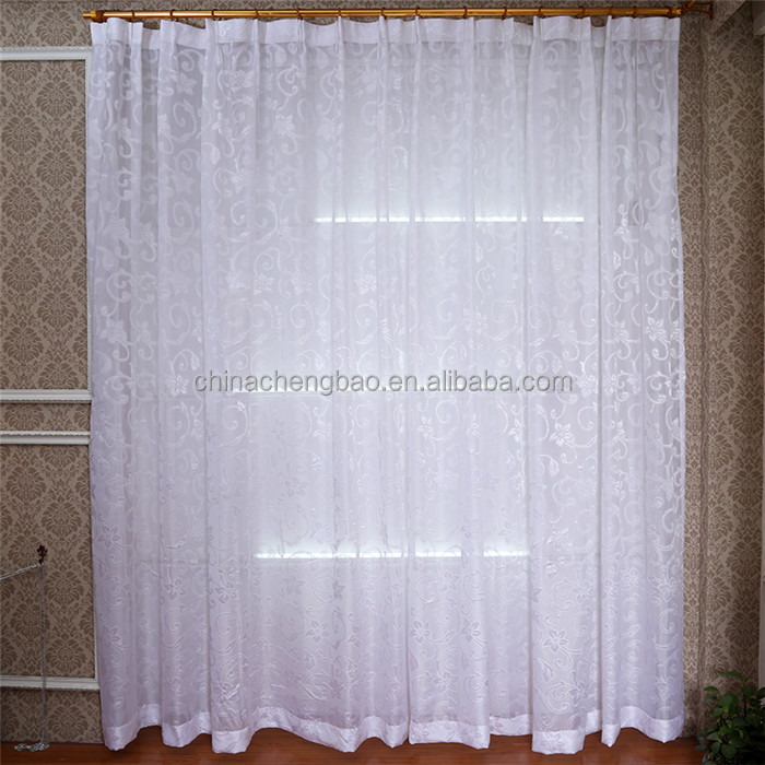 white sheer jacquard curtain cotton voile