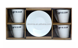High quality custom logo ceramic coffee cup set for promotion