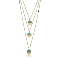 Three Layers Gold Chain Turquoise Stone