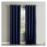 Microfiber Polyester Blackout Curtain for Living Room with grommets Navy blue