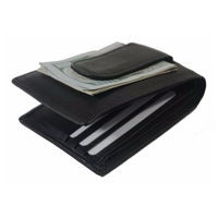 RFID Leather Bifold Slim Card Holder Front Pocket Black Men's Money Clip Wallet