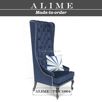 ALIME THC1004 blue upholstered antique high back chairs