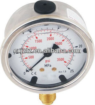 "63mm(2.5"")bottom brass connetion silicone oil filled manometer"