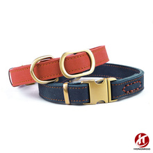 New Fashion Designer Custom Leather Dog Collars in Blue and Red with Bronze Buckle