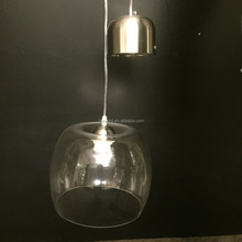 modern clear hand blown glass pendant light for coffee bar and dinning room