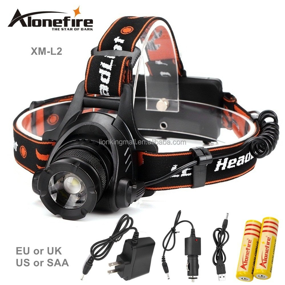 AloneFire HP78 headlamp <strong>L2</strong> LED 2500Lm 3 mode Zoomable Waterproof Headlight Head lamp +2*18650 battery+AC/car Charger