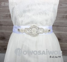 Wholesales Evening Dress Belt Sash handmade With Rhinestones applique WS1011