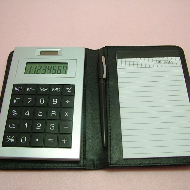 Fodable leather notebook calculator 8 digit with pen